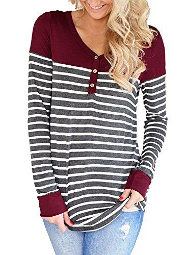 Stripe V-neck Tunic Top (Leindr Women's Casual Basic Stripes Tees Color Block Tops V Neck Long Sleeve Tunics For Leggings Red S 4 6)