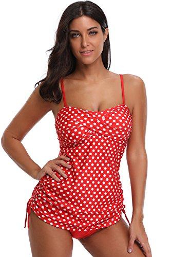 - SherryDC Women's Retro Printed Bandeau Padded Tankini Swimsuit Swimwear with Briefs
