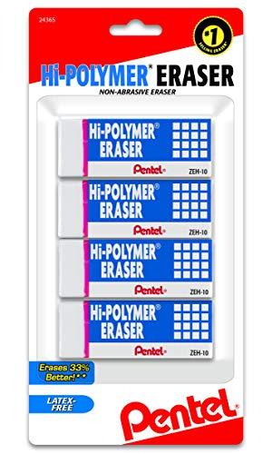 Pentel Hi-Polymer Block Eraser, Large, White, Pack