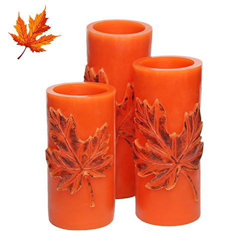 Embossed Pillar Candle (Flameless Real Wax LED Pillar Candle with Timer, Embossed Maple Leaf, Orange, Work with 2 AA Battery, Set of 3.)