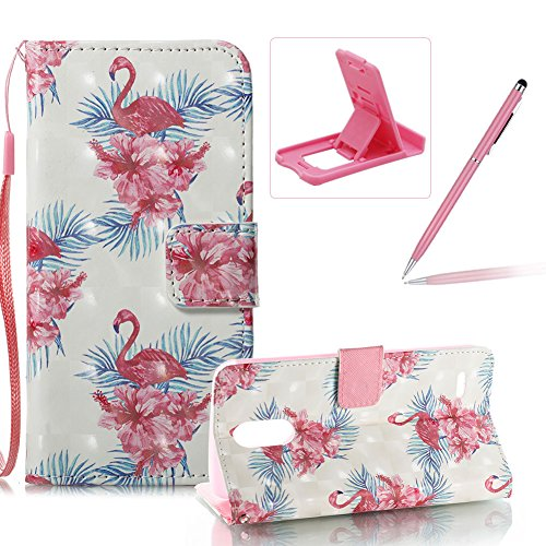 3g Crystal Silicone (Strap Leather Case for LG Stylus 3,Wallet Stand Flip Case for LG Stylo 3,Herzzer Bookstyle Stylish Pretty 3D Flower Flamingo Pattern Magnetic PU Leather with Soft Silicone Inner Back Case)