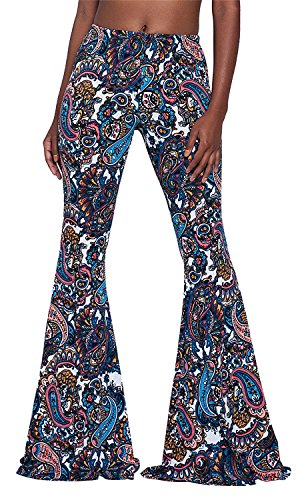 Women's Print Stretch Bell Bottom Flare Palazzo Pants High Waist Trousers,Blue,Medium - Vintage Bell Bottom Pants