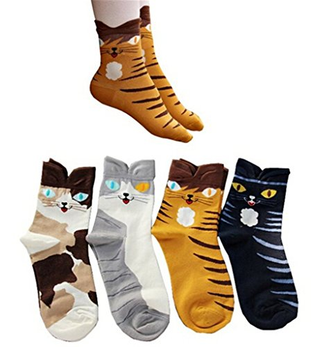 AnVei-Nao Womens Girls Cartoon Cute Cat Pattern Cotton Soft Crew Socks 4 Pairs Long