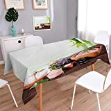 Anmaseven Spa Square Patterned Tablecloth Bamboo Background with...