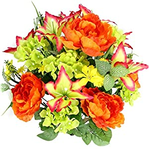 Gatton Artificial Tiger Lily, Peony & Hydrangea Foliage Mixed Flowers Bush, 24 Stems for Memorial Day, Cemetery Floral Home, Raurant, Office & ding Decor -YW/Orange/Velvet/Kiwi | Model WDDNG - 978 | 117