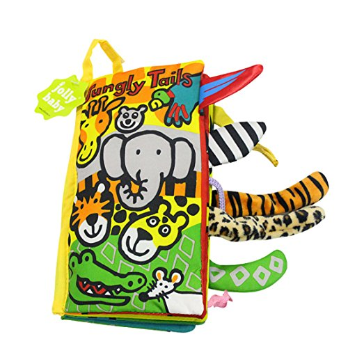 Hosim Soft Baby Animal Tails Cloth Book - Baby 3D Cloth Book Tails Animals Shape & Color Recognition Toys (Jungly Tails)
