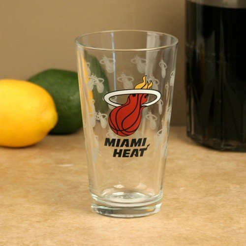 Heat Glass Miami - NBA Miami Heat 16oz. Satin Etch Pint Glass