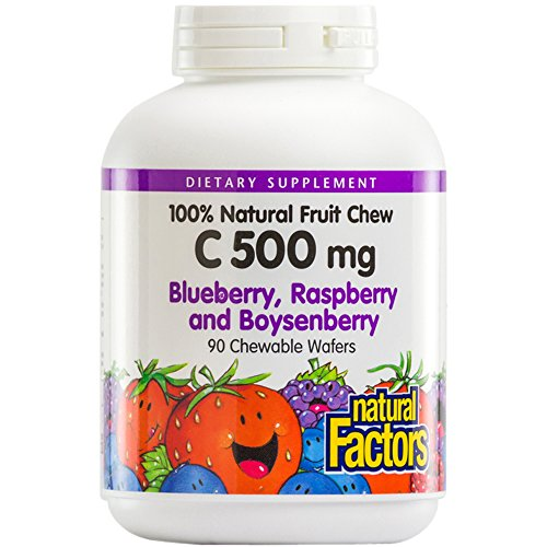 Natural Factors, Kids' Chewable Vitamin C 500 mg, Natural Fruit Support for Healthy Bones and Cartilage, Blueberry, Raspberry and Boysenberry, 90 wafers (90 servings)
