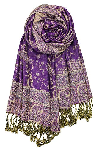 - Achillea Soft Silky Reversible Paisley Pashmina Shawl Wrap Scarf w/Fringes (Purple)