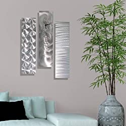 Statements2000 Silver Multi-Panel Metal Wall Clock - Contemporary Abstract Metal Wall Art by Jon Allen - Mardi Gras Time III