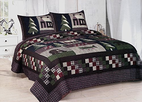American Hometex Mountain Trip Queen Quilt Set