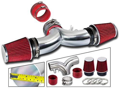 Rtunes Racing Short Ram Air Intake Kit + Filter Combo RED For 94-96 Impala SS / 94-96 Caprice 4.3L/5.7L V8 Dual (with 2 Filters)