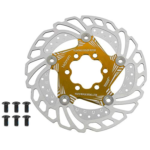 VGEBY1 Floating Disc Brake Rotor, 140mm 6 Bolts Bicycle Disc Brake Rotor Bicycle Brake Pad Cycling Accessory(Gold)