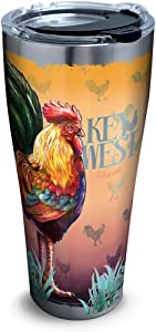 Tervis 1297540 Florida-Key West Rooster Insulated Tumbler with Clear and Black Hammer Lid, 30 oz Stainless Steel, Silver