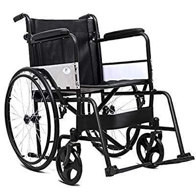 "Giantex Wheelchair Medical Transport Manual Folding w/Footrest Handbrakes Adjustable Brake Tightness Speed 23"" Large Rubber Wheels 8 Inch Casters 20"" Leather Seat Back Lightweight Wheelchairs, Black"