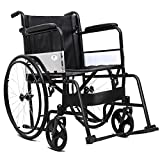 Giantex Wheelchair Medical Transport Manual Folding w/Footrest Handbrakes Adjustable Brake Tightness Speed 23'' Large Rubber Wheels 8 Inch Casters 20'' Leather Seat Back Lightweight Wheelchairs, Black