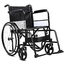 Giantex Wheelchair Medical Transport Manual Folding w/Footrest Handbrakes Adjustable Brake Tightness Speed 23 Large Rubber Wheels 8 Inch Casters 20 Leather Seat Back Lightweight Wheelchairs, Black