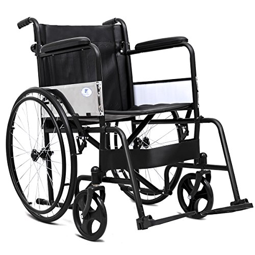 Giantex Wheelchair Medical Transport Manual Folding w/Footrest Handbrakes Adjustable Brake Tightness Speed 23