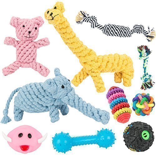 Chongai Dog Toys 10 Pack Gift Set Ball Rope Chew Squeaky Toys for Small Dog