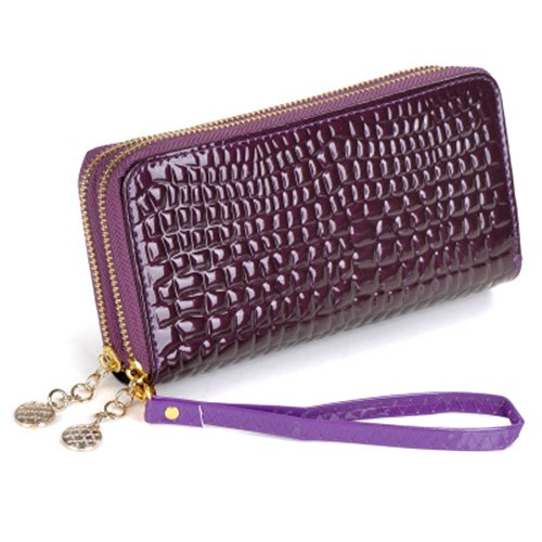 Espeedy Long Fashion Women Leather Handbags Solid Color Skin Pattern Double Zipper Ladies Handbags Crocodile Clutch Bag Card Violet Currency