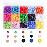 WXJ13 3 Sizes Resin Button 14 Colors Button Crafting with Plastic Storage Box, 1105 Pieces