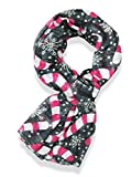 V28 Candy Cane Print Women's Scarf Christmas Gift Lightweight (43'' x 70'', Black)