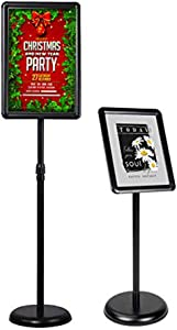 Adjustable Pedestal Sign Holder Stand Floor Sign Stand, Poster Stand Aluminum Snap Open Frame for 11x17 Inches with Heavy Round Base, Both Vertical and Horizontal Sign Displayed (11x17inches)