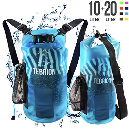 TEBRION 10L / 10L + 20L Premium Waterproof Dry Bag - Roll Top Sack Keep Gear Dry and Safe Perfect for Kayaking, Rafting, Boating, Surfing, Fishing - 10 Liter & 20 Liter Transparent Blue