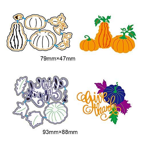 2 Set DIY Metal Cutting Dies 3D Halloween Pumpkin Paper Cutting Dies Give Thanks Letters Stencil Template Mould for DIY Cutting Templates Scrapbook Album Paper Card