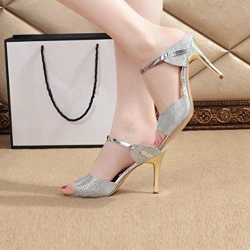 VEMOW 2018 Spring Summer Sexy Fashion Women Ladies Sandals Ankle Peep Toe High Thin Heels Block Party Open Toe Shoes Ladies Girls School Sport Party Club Dancer Beach Bikini Silver ysLABkzznJ