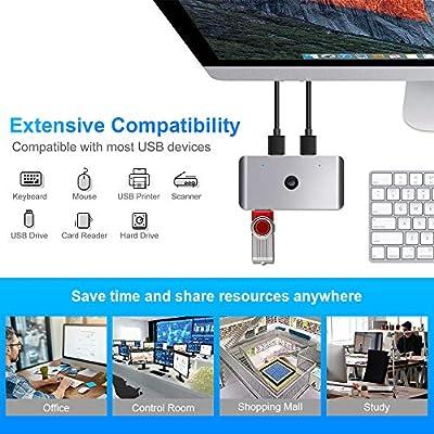 Selector de conmutador USB 3.0, conmutador KVM de aluminio de 4 puertos 2 computadoras Adaptador de conmutador periférico Hub para PC, impresora, escáner, mouse, teclado: Amazon.es: Industria, empresas y ciencia