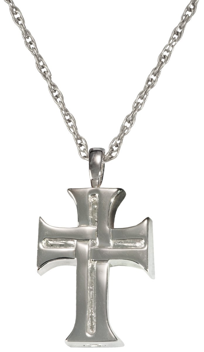 Memorial Gallery MG-3157s Men's Cross Sterling Silver Cremation Pet Jewelry