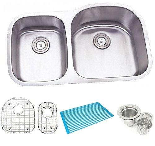 (32 Inch Stainless Steel Undermount Double 30/70 D-bowl Offset Kitchen Sink - 16 Gauge Free Accessories)