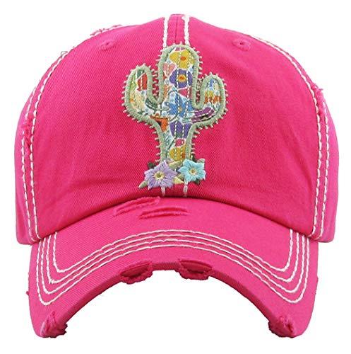 H-212-CACTUS24 Distressed Baseball Cap Vintage Dad Hat - Cactus (Hot Pink)