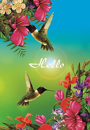 Decorative Hummingbird Garden Flag Colorful Spring Summer Blooms Double Sided 12.5'' X 18'' (Garden Flag Hummingbird)