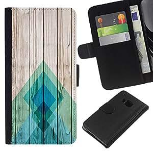 iBinBang / Flip Funda de Cuero Case Cover - Lines Wood Texture Docks Pier Surf - HTC One M9