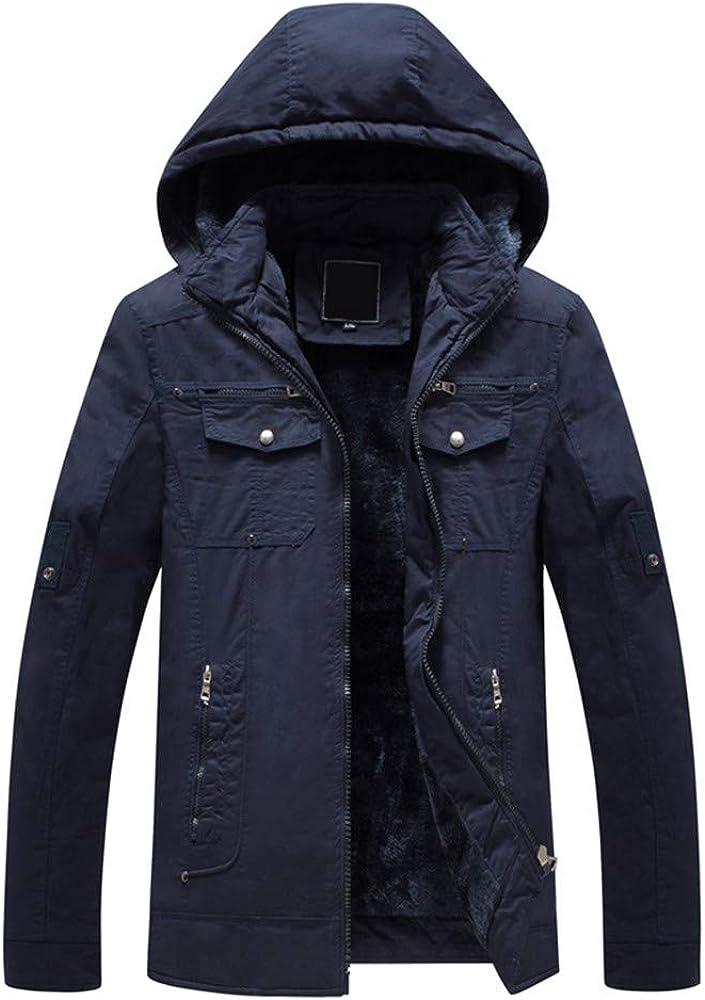 Mens Hoodies Pullover Long.Mens Autumn Winter Pure Color Pocket Open a hat Zipper Hooded Jacket Top Coat