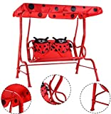 K&A Company Kids Patio Swing Porch Canopy 2 Person Chair Children Bench Yard Furniture Red