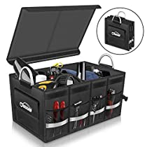 Oasser Trunk Organizer Car Container Waterproof Cargo Storage Multi-compartments Collapsible Durable Box with Aluminium Alloy Handle E3