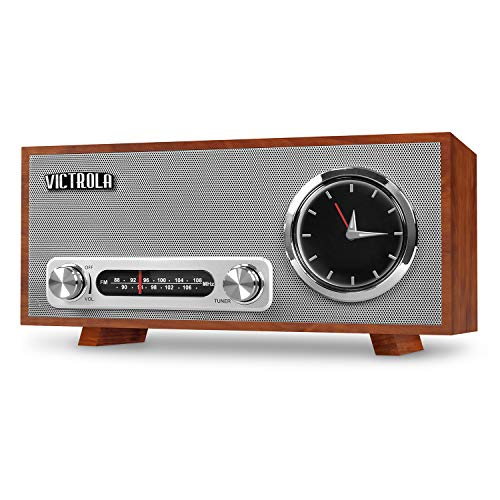 Victrola Bluetooth Analog Clock Stereo with FM Radio and USB Charging, ()