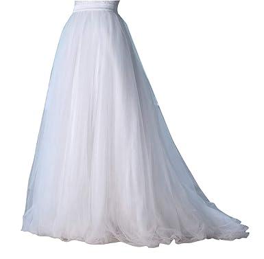 4e1e52d05 flowerry Women Short Train Tutu Tulle Skirt Wedding Train Bridesmaid Maxi  Skirt (XS, Aivory