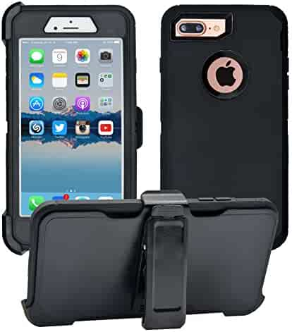 iPhone 7 Plus / 8 Plus Cover   2-in-1 Screen Protector & Holster Case   Full Body, Military Grade Edge-to-Edge Protection with carrying belt clip Black / Black