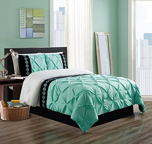 3 Piece QUEEN size Turquoise Blue / White / Black Double-Needle Stitch Puckered Pinch Pleat All-Season Bedding-Goose Down Alternative Embroidered Comforter Set (Bedding Blue White)