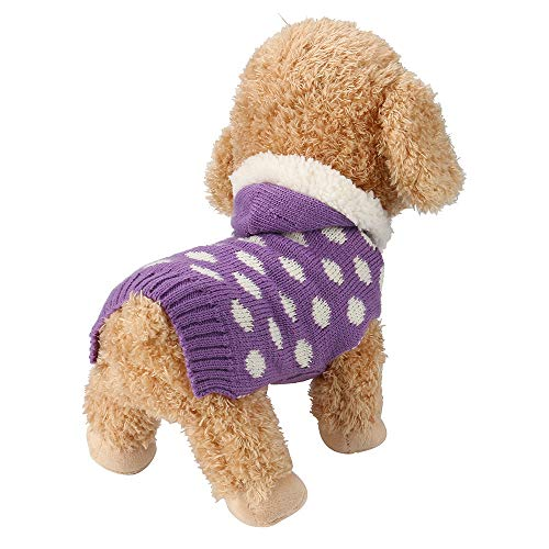 Hpapadks Teddy Pet Purple Polka Dot Hoodie Sweater,Pet Dog Cat Knitted Jumper Winter Warm Sweater Puppy Dots Hoodie Costume