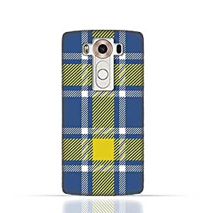 LG V10 TPU Silicone Case with Blue and Yellow Plaid Fabric Design