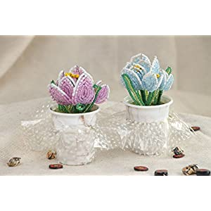 Set Of Handmade Artificial Flowers Woven Of Chinese Beads In The Shape Of Spring Crocuses 2 Items 7