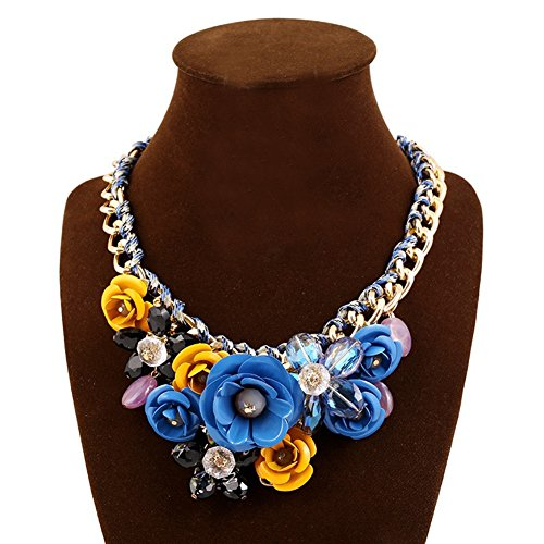 truecharms Women's Rose Necklaces Pendants Transparent Big Resin Crystal Flower Choker Statement Necklace (Blue+Yellow)