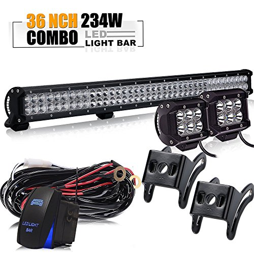 TURBOSII 36Inch 234W LED Light Bar Offroad + 2PCS 4In 18W Cube Pods Driving Lights + Rocker Switch Wiring Harness For Tractor Truck GMC Chevy Silverado 4 wheeler Ram 1500 Honda Jeep ATV