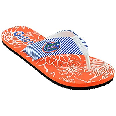 Campus Footnotes Women's Stripped Floral Flip Flops
