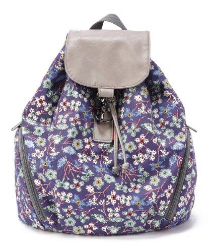 ENVOY Girl's Cotton Floral Backpack Rucksack (blue)